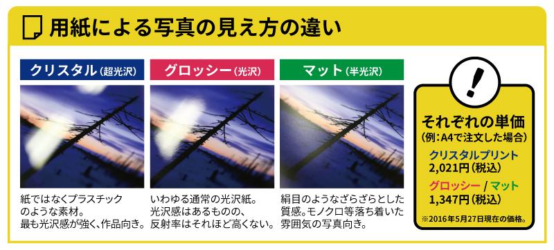 用紙による写真の見え方の違い