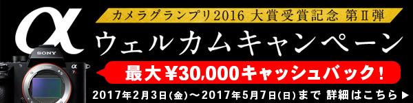 『カメラグランプリ2016大賞受賞記念 第 II弾 / αウェルカムキャンペーン』 詳細はこちら