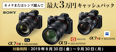 SONY  表現に無限の可能性を αフルサイズミラーレス オータムキャンペーン カメラとレンズ購入で最大3万円キャッシュバック