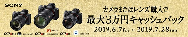 SONY 表現に無限の可能性を αフルサイズミラーレス サマーキャンペーン カメラまたはレンズ購入で最大3万円キャッシュバック