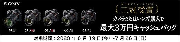 SONY α受賞記念キャンペーン 対象モデルの購入で、応募者全員に最大30,000円キャッシュバック