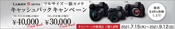 Panasonic DC-S5/DC-S1/S1H キャッシュバックキャンペーン